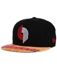 New Era Portland Trail Blazers Wood Viz 9Fifty Snapback Cap Black Lightbrown