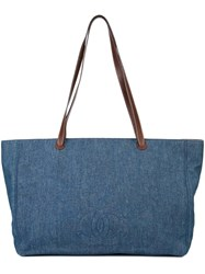 Chanel Vintage Denim Cc Tote Blue