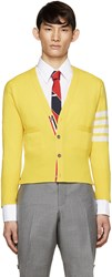 Thom Browne Yellow Cashmere Striped Armband Cardigan