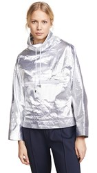 Courreges Snapped Sleeves Rain Jacket Silver