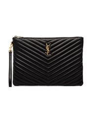 Saint Laurent Quilted Leather Clutch Bag Black