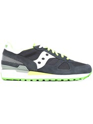Saucony Panel Lace Up Sneakers Men Cotton Leather Rubber 43 Grey