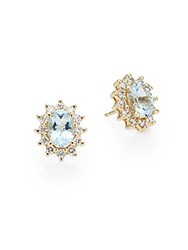 Effy Aquamarine Diamond And 14K Yellow Gold Stud Earrings Gold Blue
