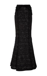 Oday Shakar Italian Paillette Tweed Mermaid Skirt Black