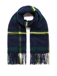 Mulberry Large Check Wool Wrap Navy