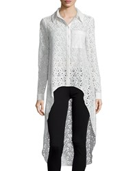 Haute Hippie The Lace Caravan Collared High Low Blouse Swan