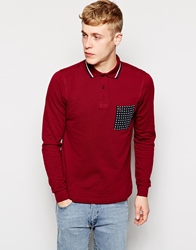Fred Perry X Drakes Polo With Floral Pocket In Long Sleeve