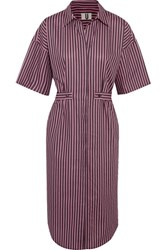 Topshop Unique Tiller Oversized Striped Cotton Shirt Dress Pink