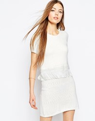 Asos Knit Double Layer Skater Dress With Fringe Trim White