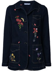 Vivetta Embroidered Denim Jacket Blue