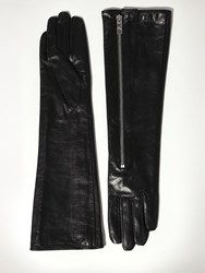 Karl Lagerfeld Rocky Long Slouchy Leather Gloves Black