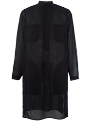 Qasimi Elongated Sheer Shirt Black