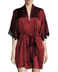 Christine Designs Silk Short Robe Bordeaux