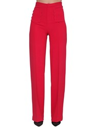 Red Valentino High Rise Stretch Wide Leg Pants Red