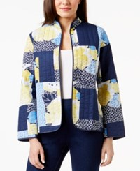 Alfred Dunner Petite Long Sleeve Multi Print Jacket