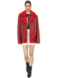 Zadig And Voltaire Shearling Biker Jacket Red