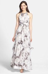 Eliza J Embellished Print Chiffon Maxi Dress
