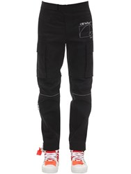 Off White Skinny Cotton Gabardine Cargo Pants Black