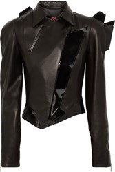 Ronald Van Der Kemp Patent Trimmed Matte Leather Biker Jacket Black