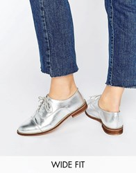 Asos Muse Wide Fit Lace Up Flat Shoes Silver