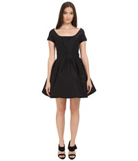Zac Posen Short Sleeve Boat Neck Fit And Flare Dress Black