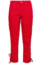 Sandro Woman Lace Up Cropped Skinny Jeans Red
