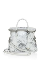 Maison Martin Margiela Mini Painted Metallic Leather Tote Red Silver
