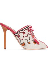 Malone Souliers Natalia Vodianova Woven Linen And Leather Mules Off White