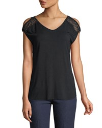 Chelsea And Theodore V Neck Cold Shoulder Tee Black