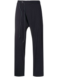 Attachment Dropped Crotch Striped Trousers Blue