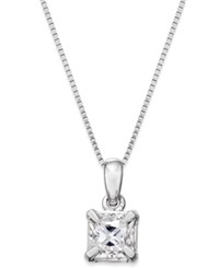Macy's Princess Cut Diamond Solitaire Pendant Necklace 1 4 Ct. T.W. In 14K White Gold