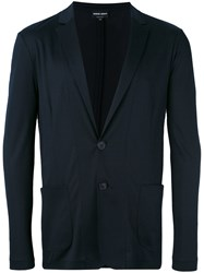 Giorgio Armani Patch Pockets Blazer Men Viscose 50 Blue