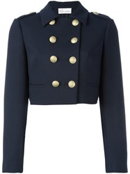 Red Valentino Double Breasted Cropped Jacket Blue