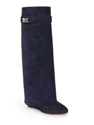 Givenchy Shark Lock Foldover Knee High Suede Wedge Boots Navy