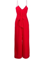 Armani Exchange Straight Fit Jumpsuit With Front Knot Red