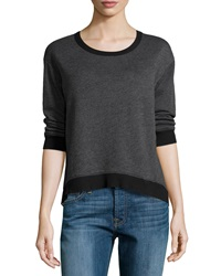 W By Wilt Cropped Slouchy Knit Sweatshirt Black