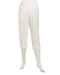 Halston Heritage Relaxed Jacquard Cropped Pants White