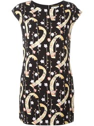 Saint Laurent Digital Floral Print Shift Dress Black