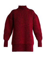 Balenciaga Cable Knit Virgin Wool Sweater Black Red