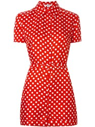 Carven Calico Print Playsuit Red