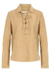 Frame Denim Le Lace Up Suede Top Beige