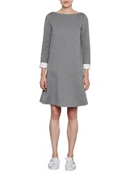 French Connection Lula Turn Up Cuff Boat Neck Dress Light Grey Summer White