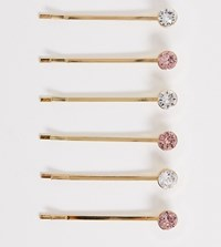Accessorize Exclusive 6 Swarovski Hair Slide Mutlipack With Clear And Pink Stones Gold