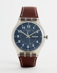 Swatch Suok709 Vent Brulant Leather Watch In Brown