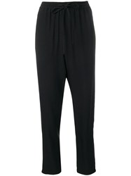 Red Valentino Tapered Leg Relaxed Trousers Black