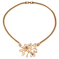 Alice Joseph Vintage 1980S Givenchy Gold Plated Flower Necklace White Gold