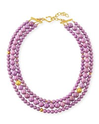 Dina Mackney 3 Strand Phosphosiderite Necklace Purple