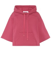 See By Chloe Cropped Cotton Hoodie Pink