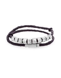 Steve Madden Stainless Steel And Leather Braided Wrap Bracelet Burnished Silver