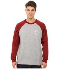 Brixton Wheeler Crew Fleece Heather Grey Burgundy Men's Sweatshirt Gray